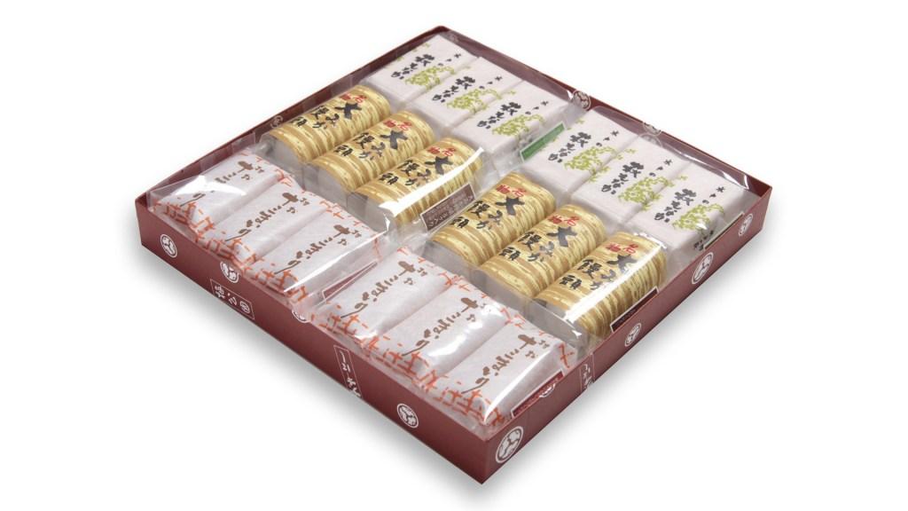 三色詰合せ18ヶ箱 大みか饅頭6ヶ 十三まいり6ヶ 萩もなか6ヶ(パック箱詰め)