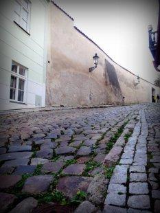 Rue pavée Prague quartier du Château