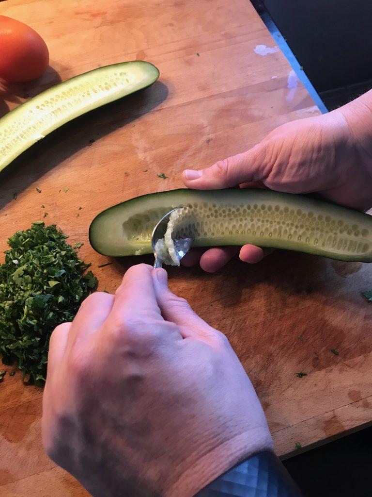 Scooping cucumber
