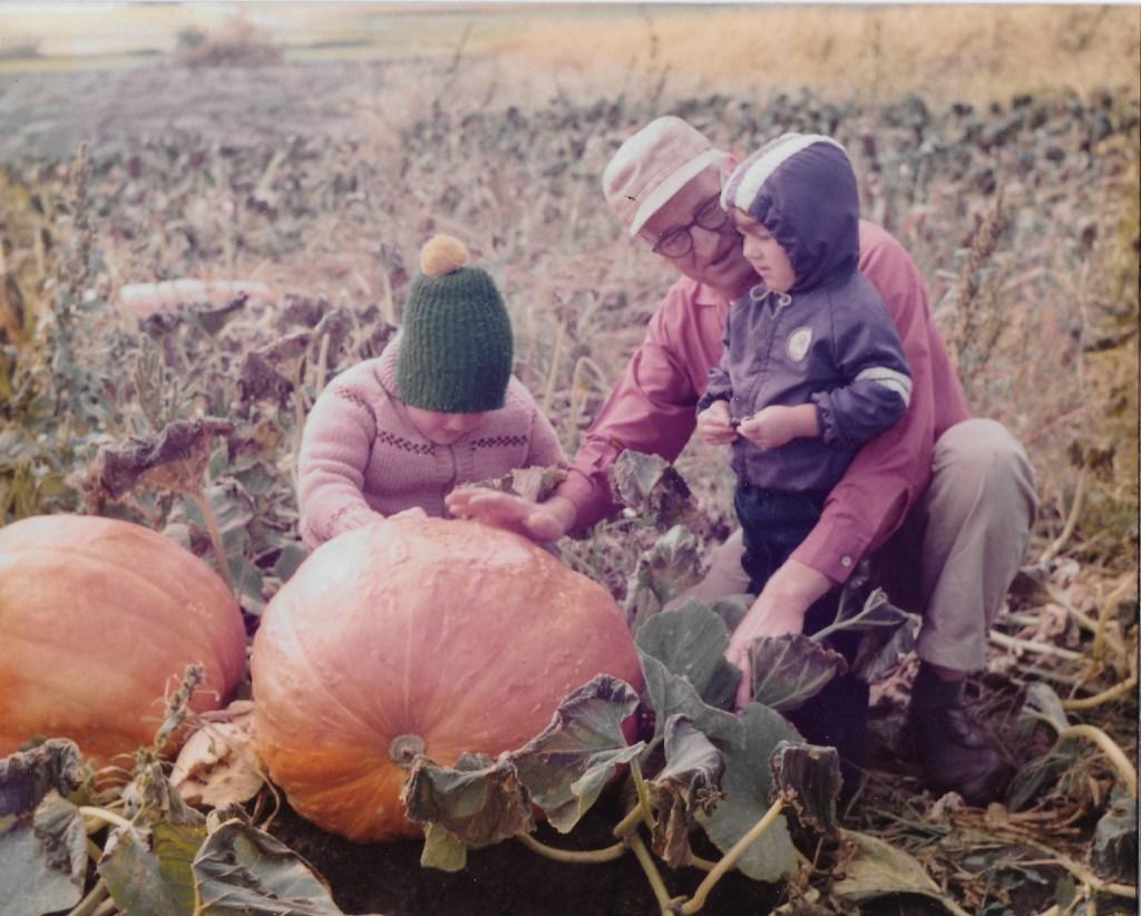 grandpa in pumpkin patch