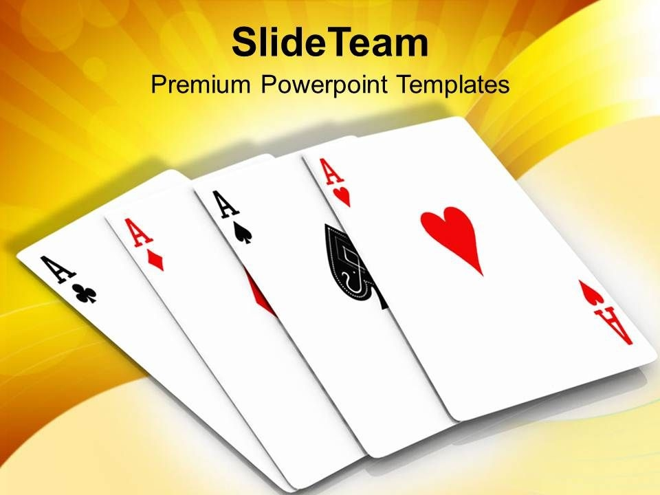 four aces playing cards game powerpoint templates ppt