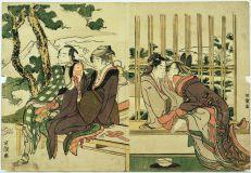 Katsushika Hokusai, La Courtisane Azuma et son aman Yogor dans la neige de printemps ; Date Yosaku et son amante Seki no Koman dans les feux du couchant, ca 1804