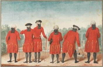 Carmontelle, Les gentilshommes du duc d'Orléans dans l'habit de Saint-Cloud. © Sotheby's France