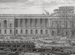 Sébastien Leclerc, La Mise en place du fronton du Louvre, 1677, eau-forte et burin, Paris, Bibliothèque nationale. © Damien Tellas