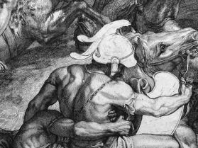 Girard Audran, d'après Charles Le Brun, Le Passage du Granique (détail), 1672, eau-forte et burin, premier état, Paris, Bibliothèque nationale. © Damien Tellas