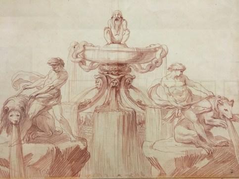 Edme Bouchardon, Fontaine au gnome avec les athlètes domptant un ours et un lion, 1737, sanguine, Paris, musée du Louvre.