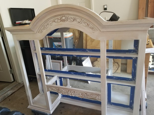 step 2 of refinishing a china cabinet