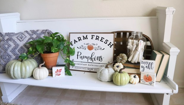 farmhouse fall decorating ideas, using old books, hymnal crafts, white and green pumpkins, church pew, and chippy paint signs