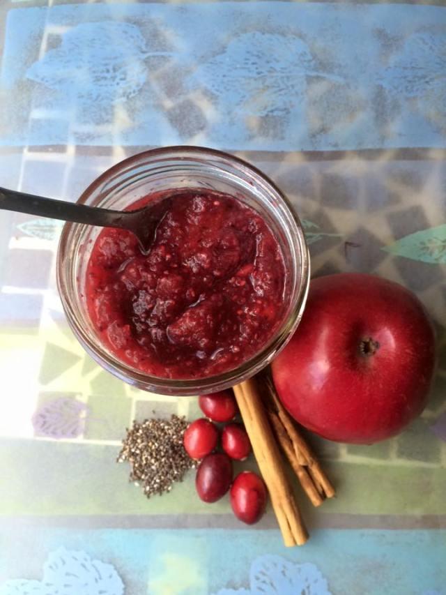 cranberry apple chia seed jam