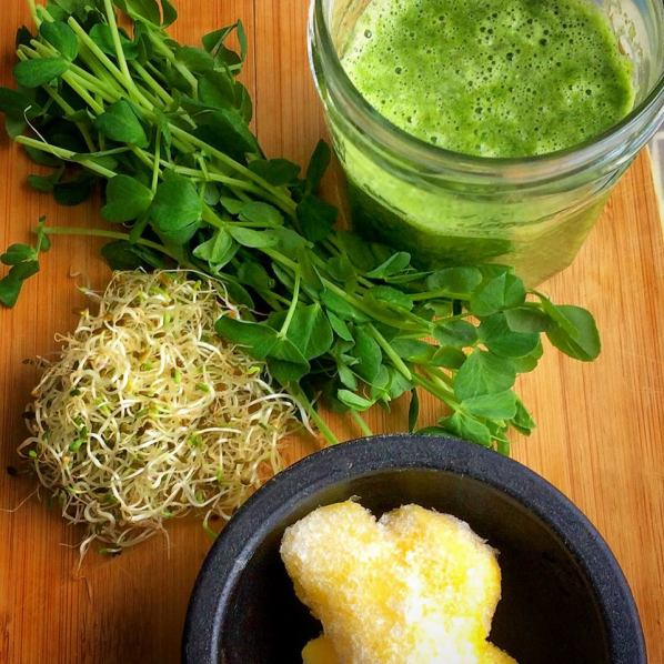 Pea shoots, alfalfa sprouts, pineapple