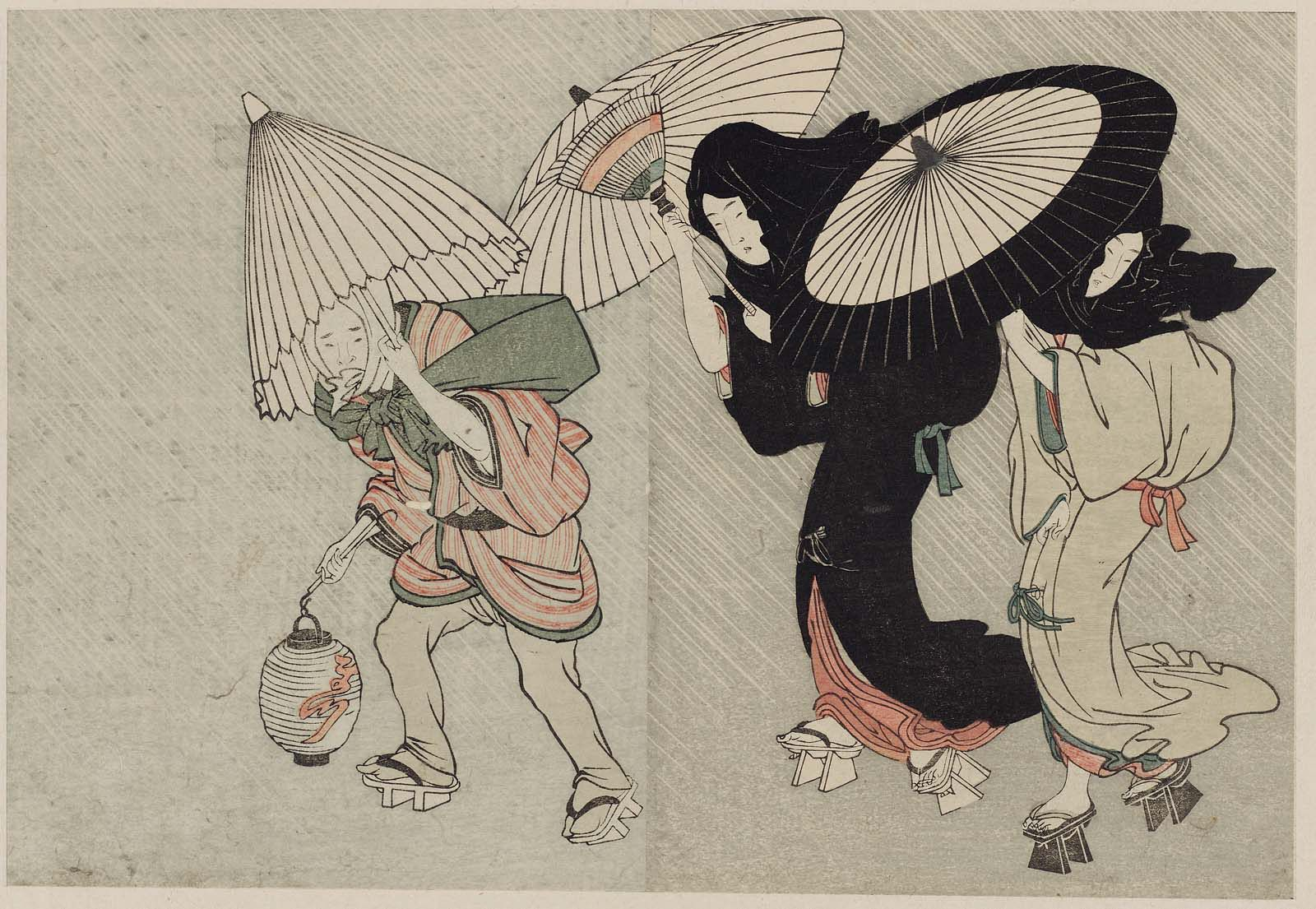 Two Geisha and Porter in Wind and Rain at Night, from Vol. 2 of the book Ehon shiki no hana (Flowers of the Four Seasons); Artist Kitagawa Utamaro I (Japanese, early 1750s–1806)