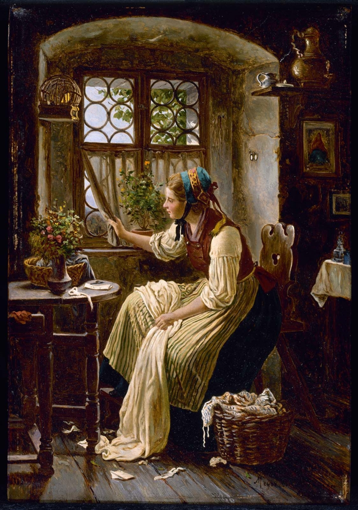 Johann Georg Meyer, Young Woman Looking through a Window
