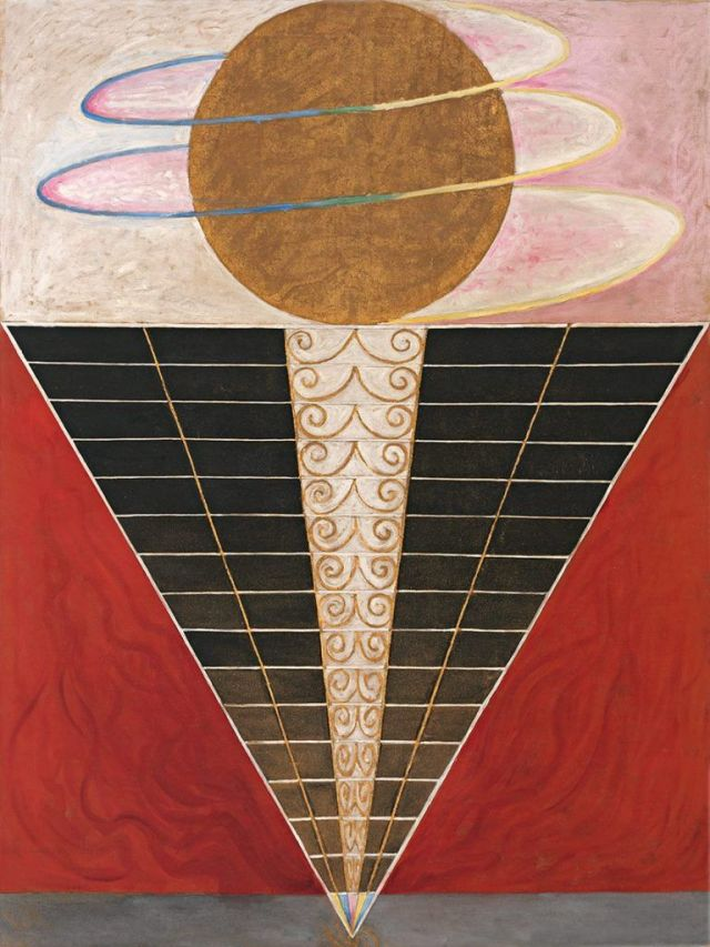 Hilma af Klint, Group X, No. 2, Altarpiece, 1915, oil and metal leaf on canvas