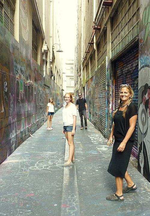 Paige and her family in Melbourne on their round the world trip