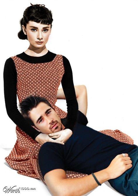 Audrey Hepburn et Colin Farrell