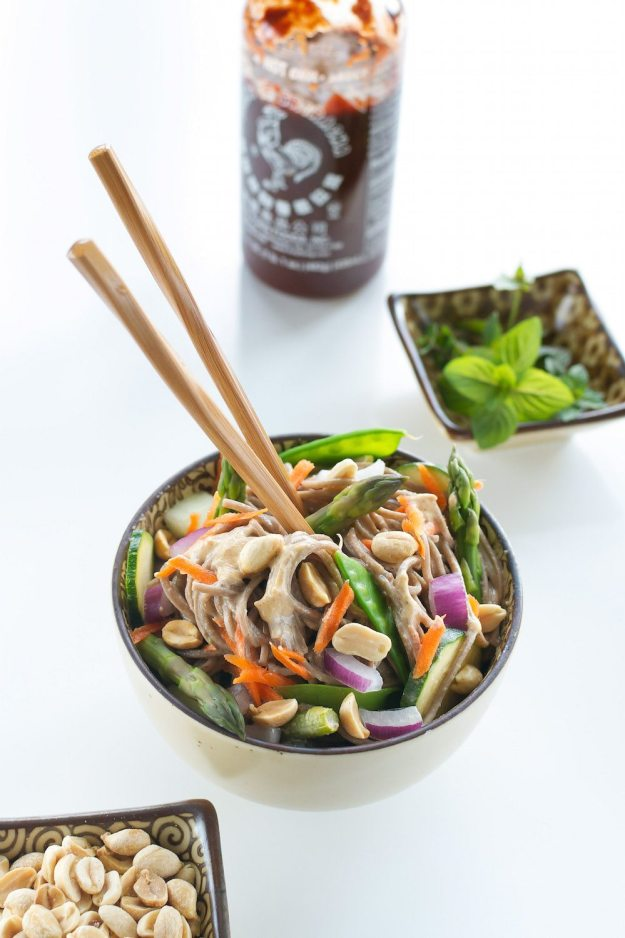 Buckwheat Noodles with Spicy Almond Sauce by An Unrefined Vegan