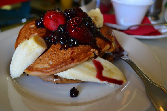 Whole Grain & Flaxseed Pancakes with Berry Compote & Bananas.