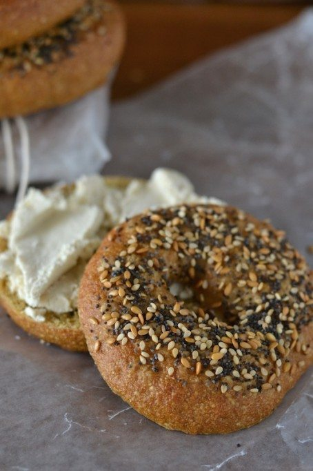Pretzel Roll Bagels with Cashew Coconut Cream Cheese by An Unrefined Vegan