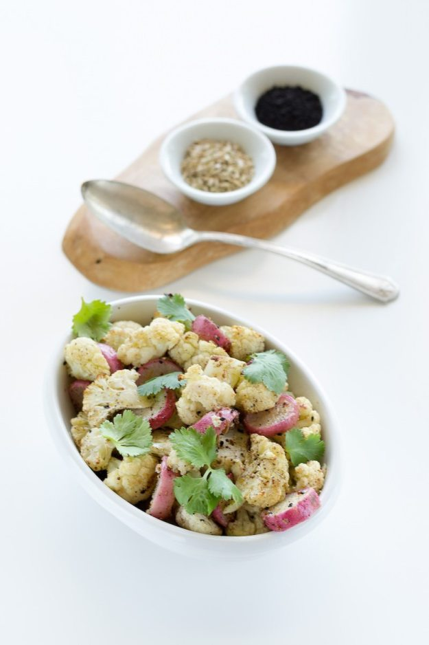 Roasted Cauliflower and Radish photo by An Unrefined Vegan