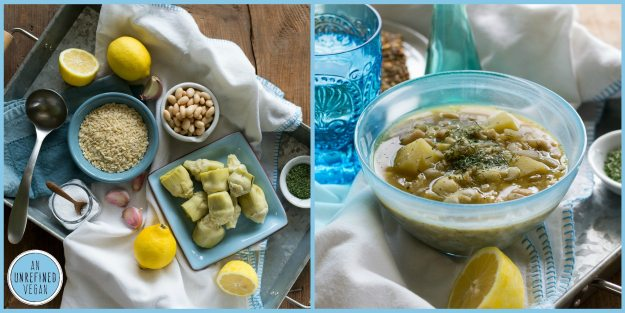 Lemony White Bean Potato Artichoke Orzo Soup by An Unrefined Vegan