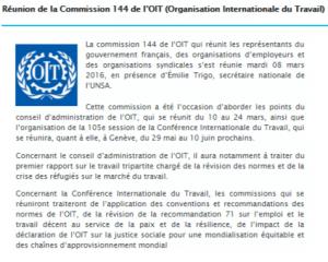 Réunion de la Commission 144 de l'OIT