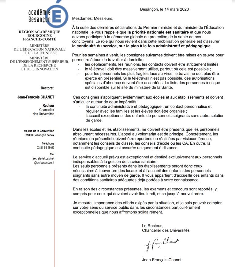 [UNSA] Courrier du Recteur  à destination des chefs d'établissements #coronavirus