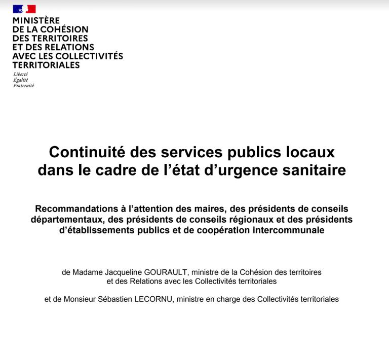 [UNSA] Recommandations nationales pour la continuité des services publics locaux dans le cadre de l'état d'urgence sanitaire