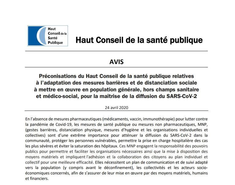 [UNSA] Reprise : Les préconisations du Haut Conseil de la santé publique #lycées #transports #élimination des déchets #climatisation …