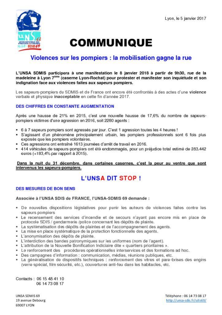 thumbnail of Communiqué UNSA sdmis 5-01-18 mobilisation contre les violences sur les sapeurs pompiers