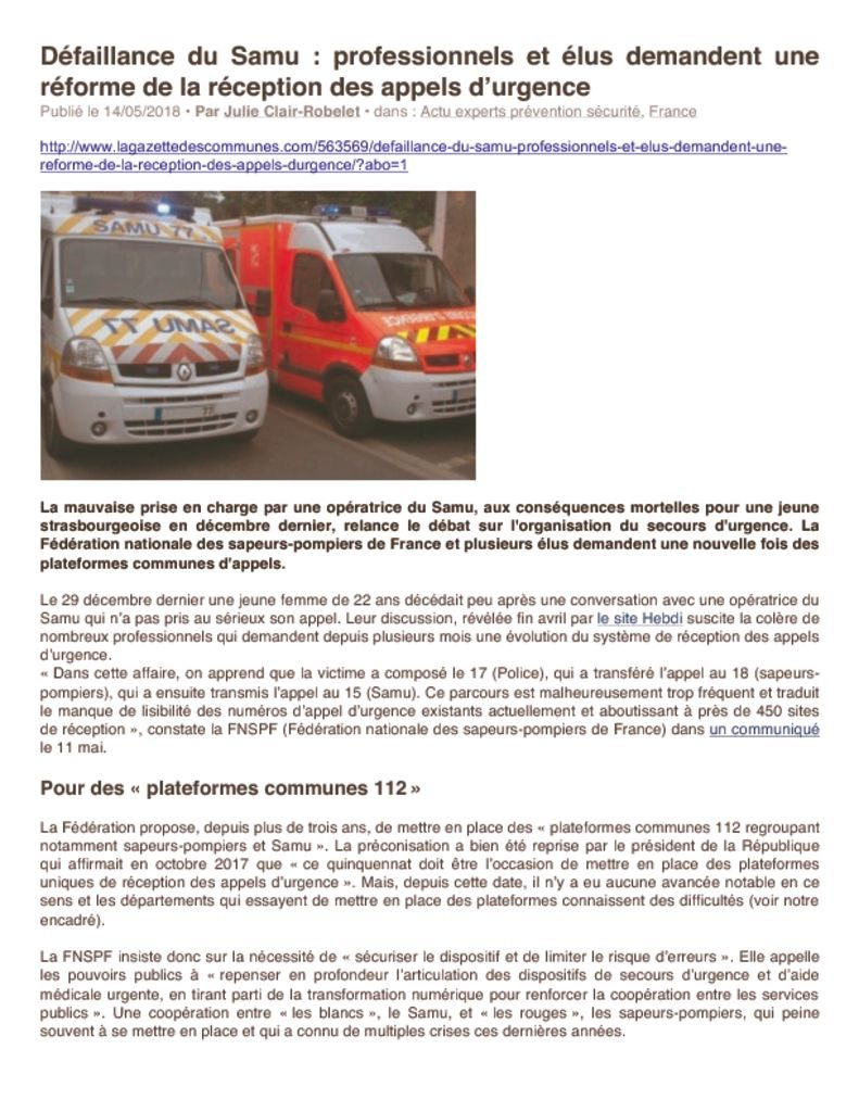 thumbnail of GDC – Défaillance du Samu