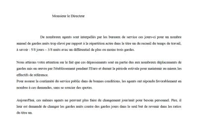 Le syndicat UNSA-SDIS33 interpelle le Directeur du SDIS de la Gironde au sujet de la répartition des gardes jours/nuits