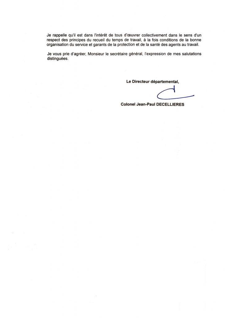 Réponse du Directeur à notre courrier du 26 juillet 2016 au sujet de la répartition des gardes jours/nuits - PAGE 2