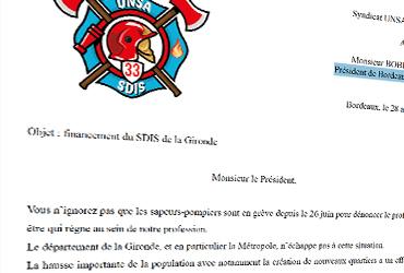 Courrier envoyé au Président de Bordeaux Métropole sur le financement des SDIS