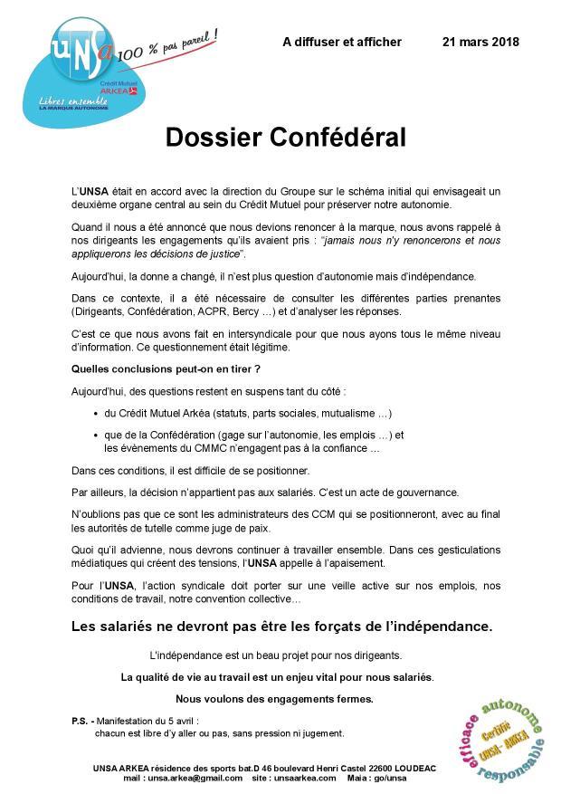 2018.03.21 UNSA communication dossier Confédéral