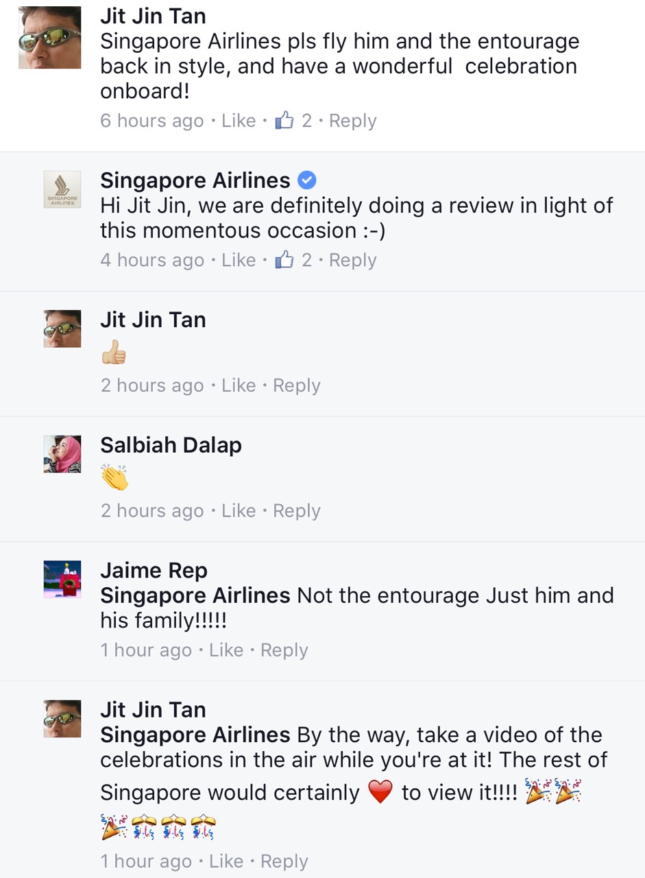 via Facebook / Singapore Airlines