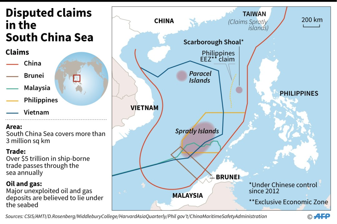Map showing disputed claims in South China Sea (AFP via Channelnewsasia)