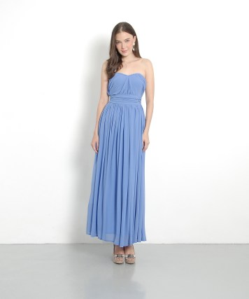Bridesmaid dress HerVelvetVase PERLA CLASSIC MAXI - CORNFLOWER BLUE