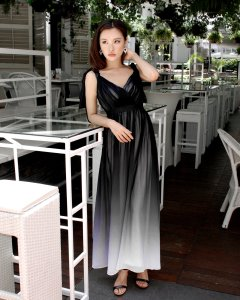 Bridesmaid dress Theory of Seven Claire Ribbon Back Glam Black Ombre