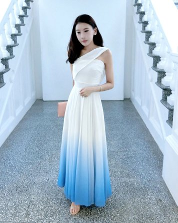 Bridesmaid dress Theory of Seven Bernad Ombre White/Sea Blue Toga