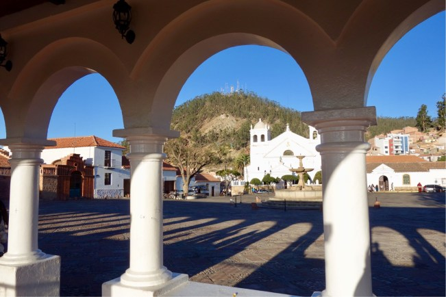 View from the Recoletta mirador over the plaza and church
