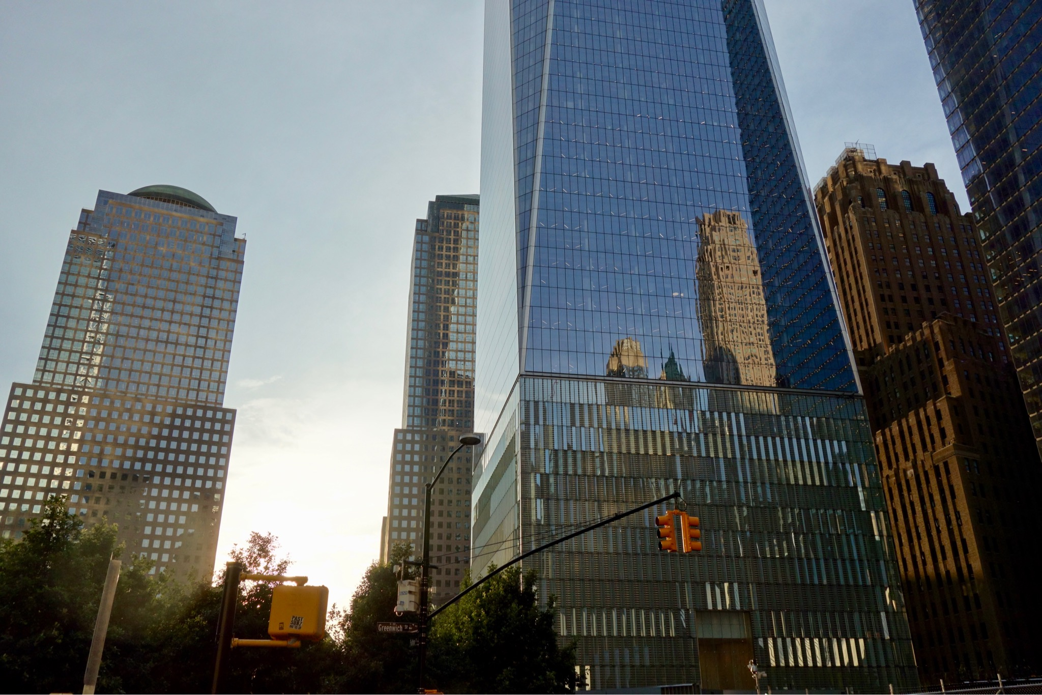 Reflection of buildings in the new Peace tower at World Trade Centre site, New York City