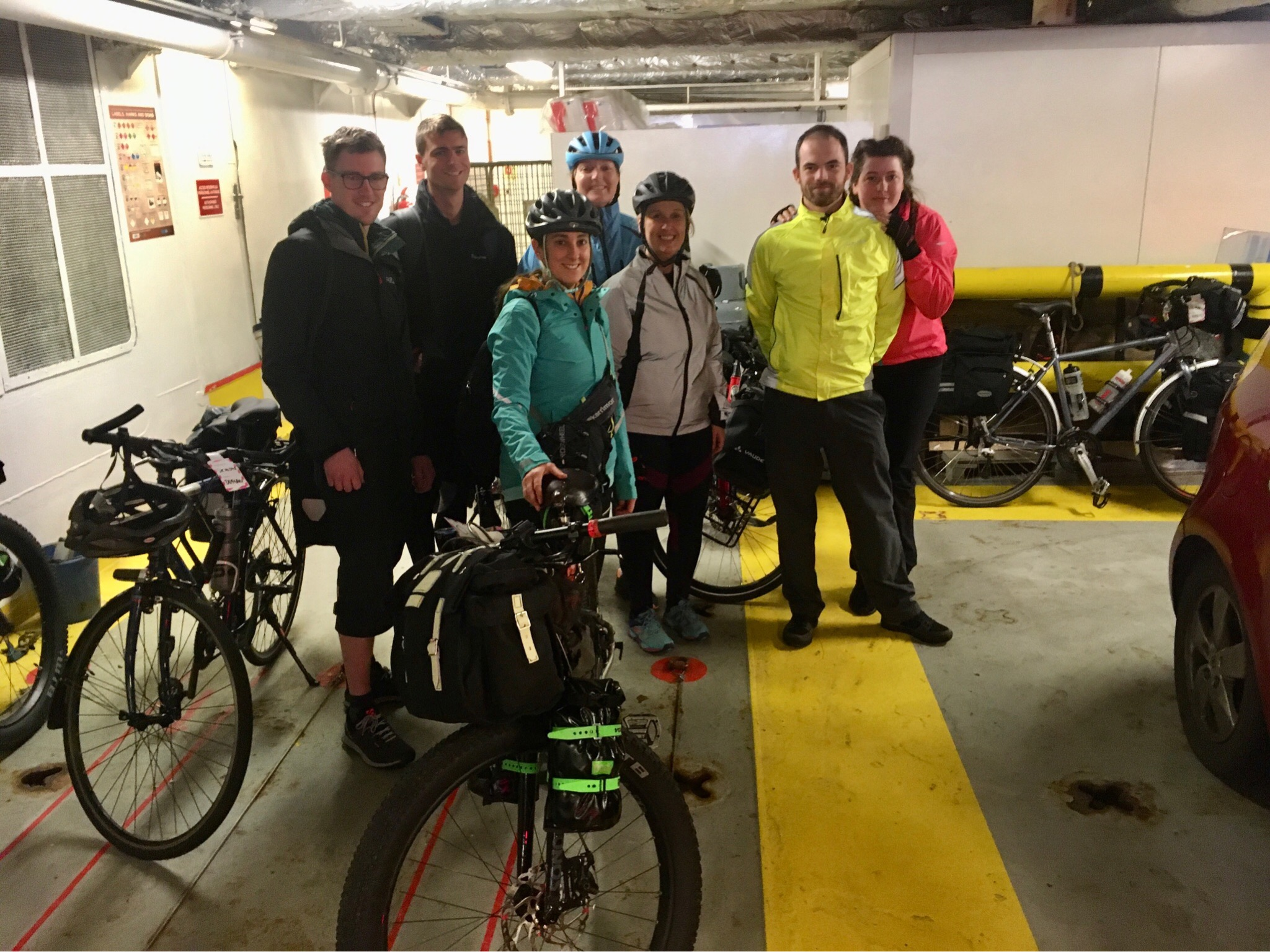 The group of cyclists on the ferry