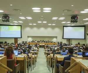 "Launch of the World Youth Report entitled ÒYouth Civic EngagementÓ (organized by the Department of Economic and Social Affairs (DESA)) - Wide view of the Launch of ""Youth Civic Engagement"" forum as Lakshmi Puri, Deputy Executive Director of UN Women gives her remarks."