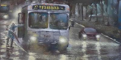 Autobús nocturno bajo la lluvia