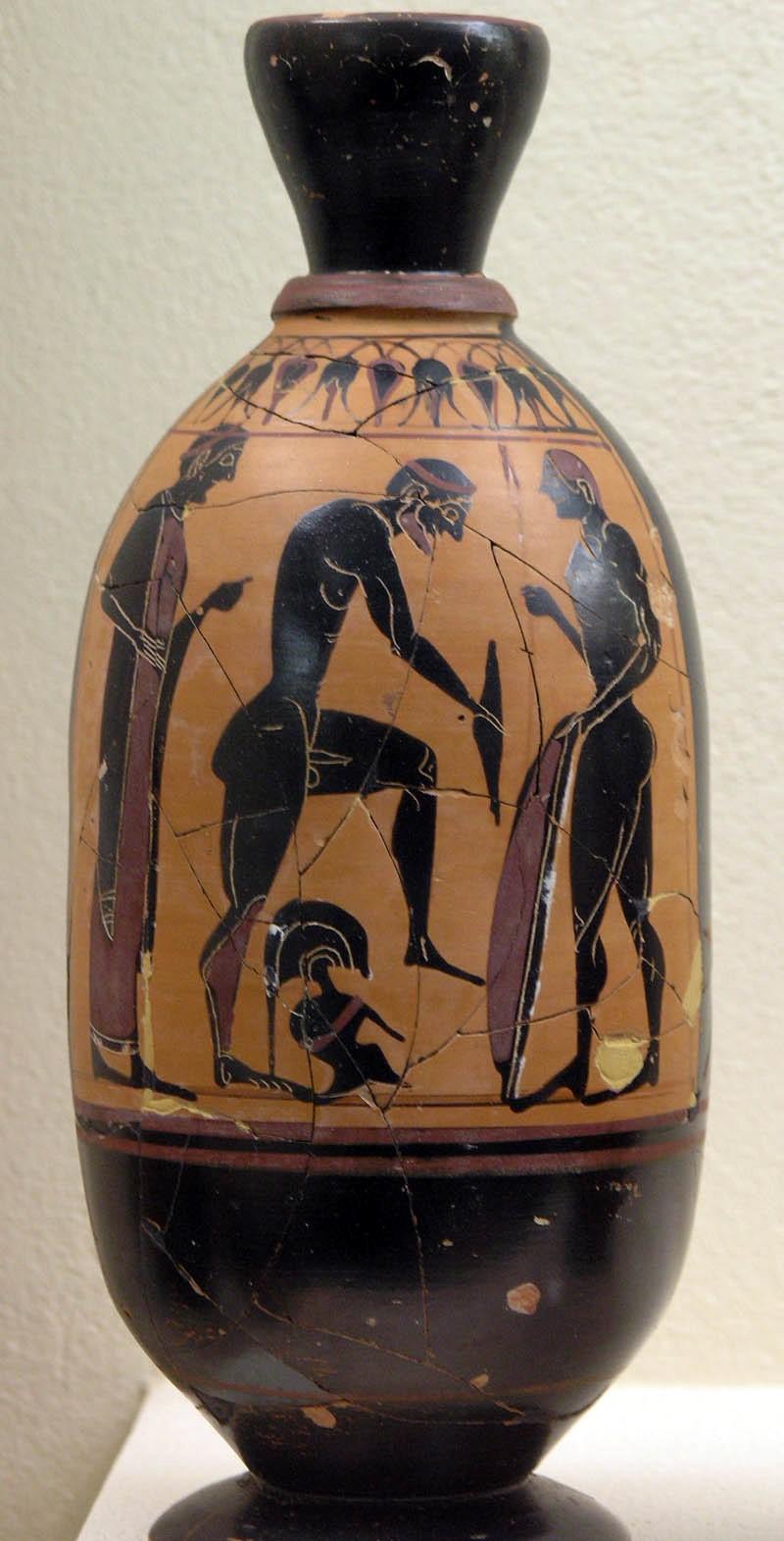 Lecito-figuras negras-deyanira-ceramica-griega