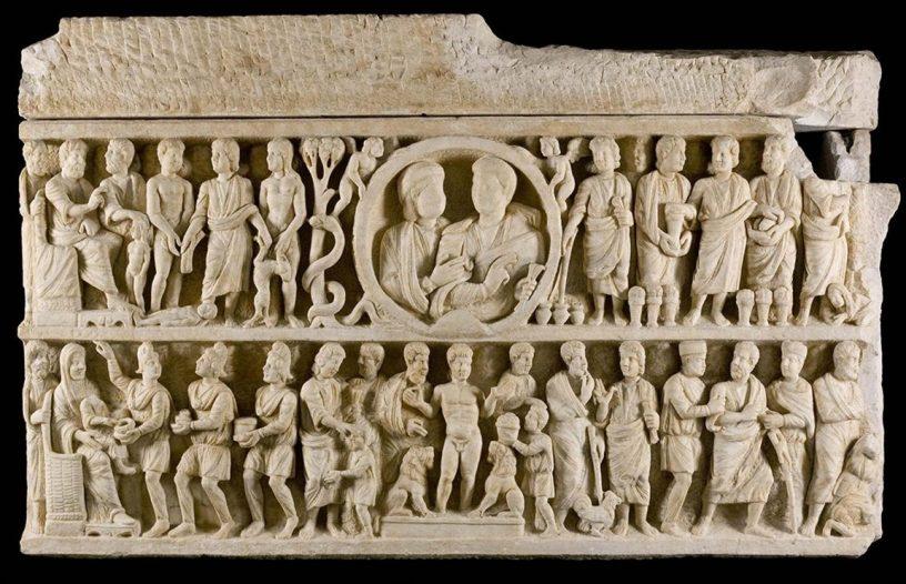 """Sarcófago """"dogmático"""", arte paleocristiano"""