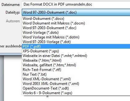 Seit Word 2010 können wir jedes DOCX-Dokument ganz einfach in PDF umwandeln
