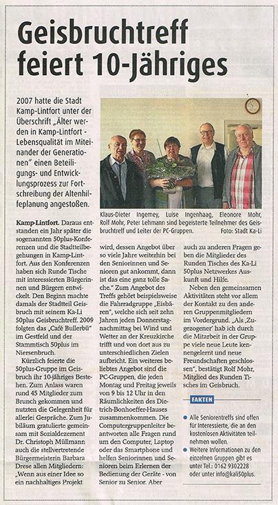 Zeitungsartikel Geisbruchtreff feiert 10-jähriges