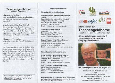 Flyer Taschengeldbörse Meerbeck & Hochstraß & Scherpenberg