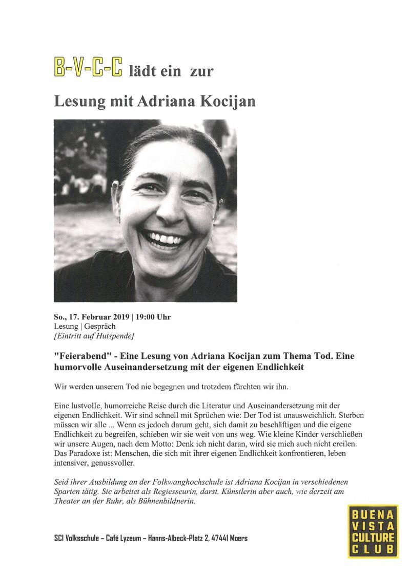 """Einladung zur Lesung """"Feierabend"""" im Café Lyzeum"""